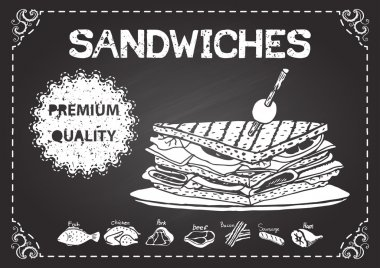 Hand drawn sandwiches on chalkboard