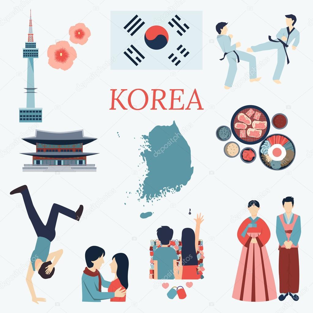 All About Korea Flat Design Elements Kpop Korean Seriesflag