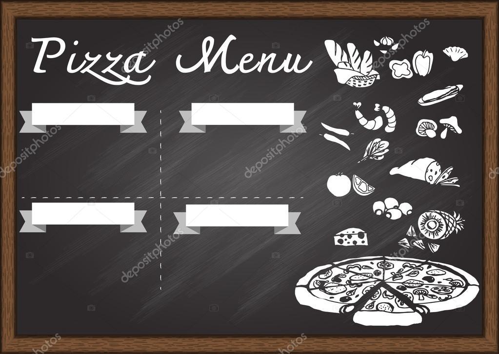 Menú pizza dibujada en la plantilla de diseño de pizarra. Listo para ...