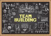 Obchodní čmáranice na tabuli s koncepcí budování týmu