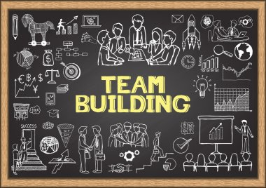 Business doodles on chalkboard with the concept of TEAM BUILDING
