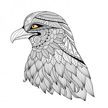 Detail zentangle eagle for coloring page, tattoo, t shirt design, logo and so on.