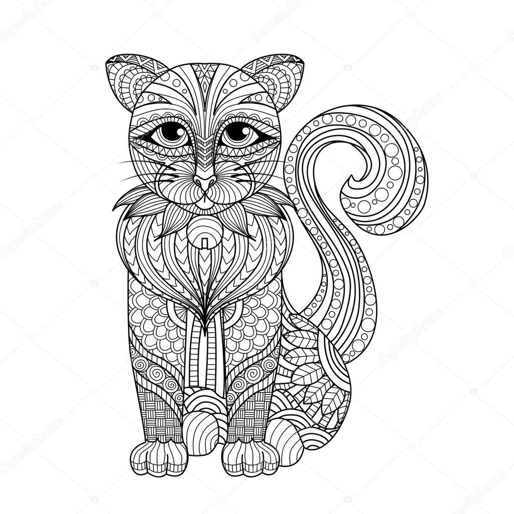 çizim Zentangle Kedi Boyama Sayfası Gömlek Tasarım Etkisi Logo
