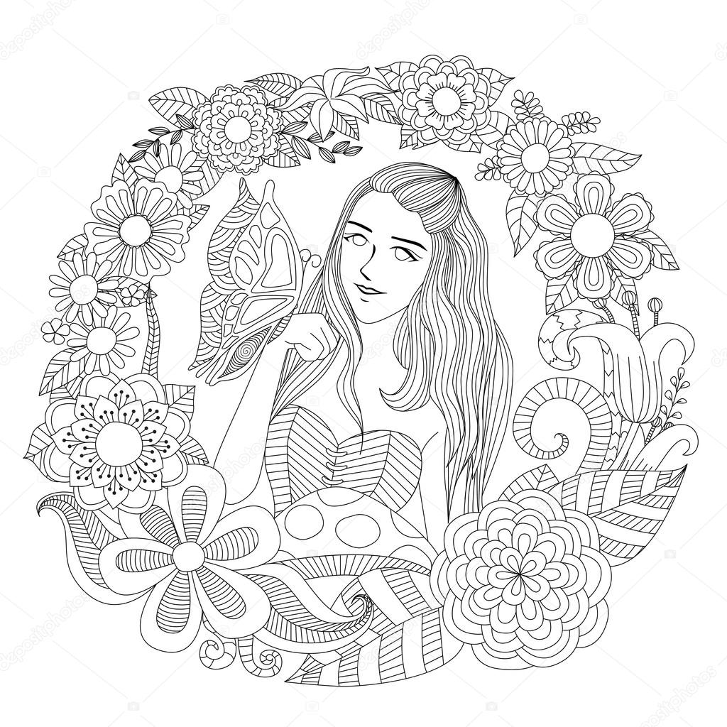 Bonita chica jugando con mariposa en el arte de la línea jardín de ...
