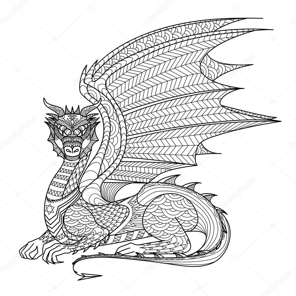 Drawing Dragon For Coloring Book Stock Vector C Somjaicindy