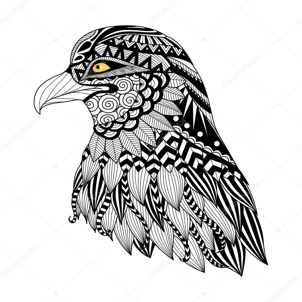 detail zentangle eagle for coloring page tattoo t shirt design