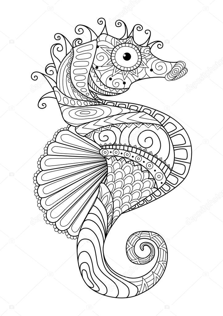 Imágenes: caballitos de mar para colorear | Estilo de zentangle de ...