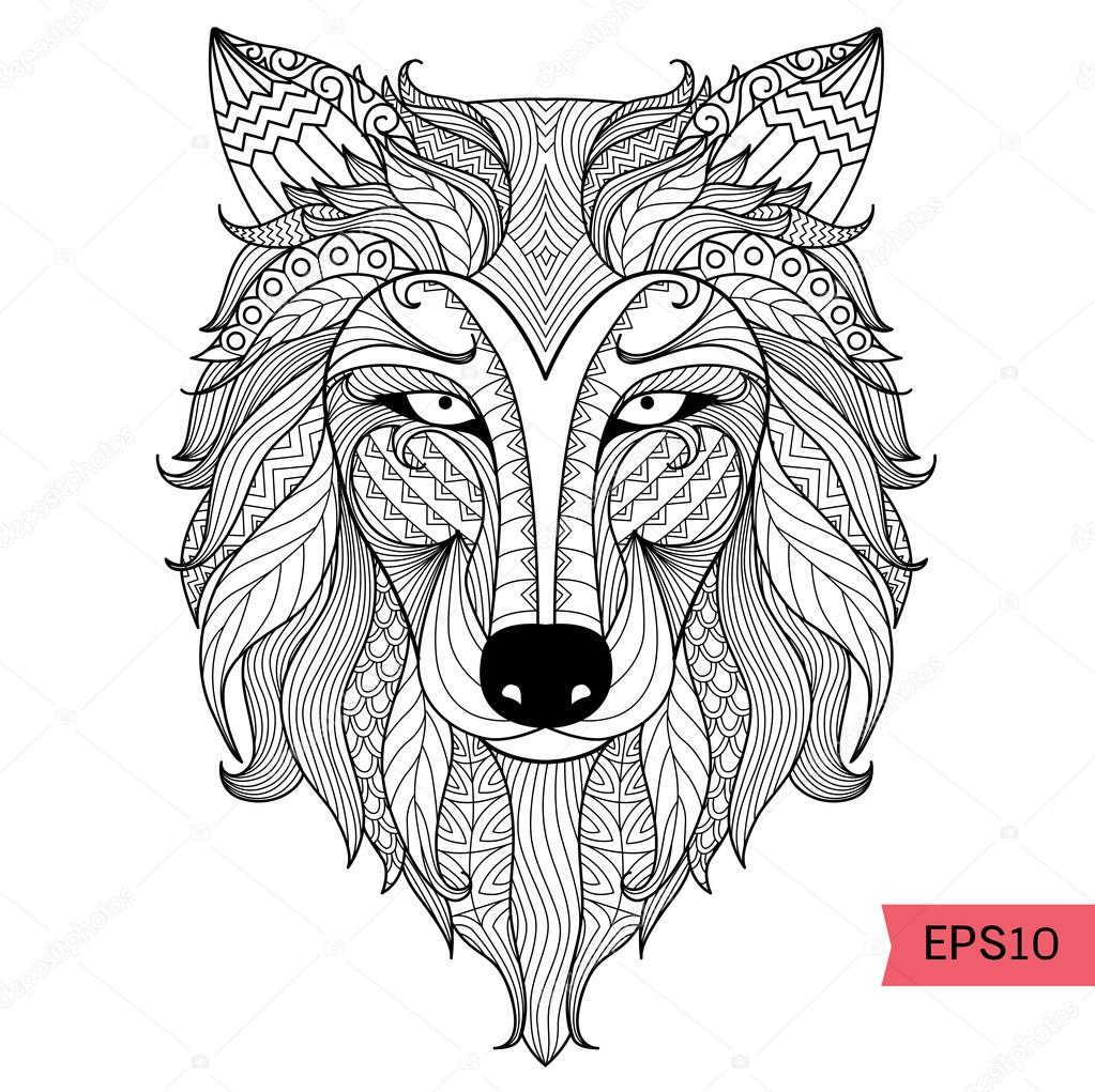 Detail Zentangle Wolf For Coloring Pagetattoo T Shirt Design