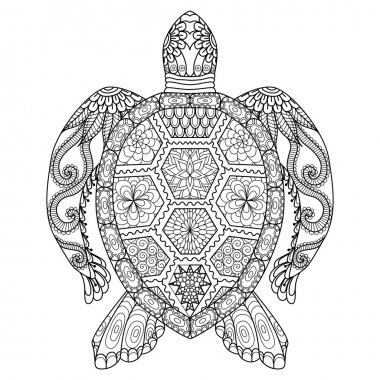 Drawing zentangle turtle