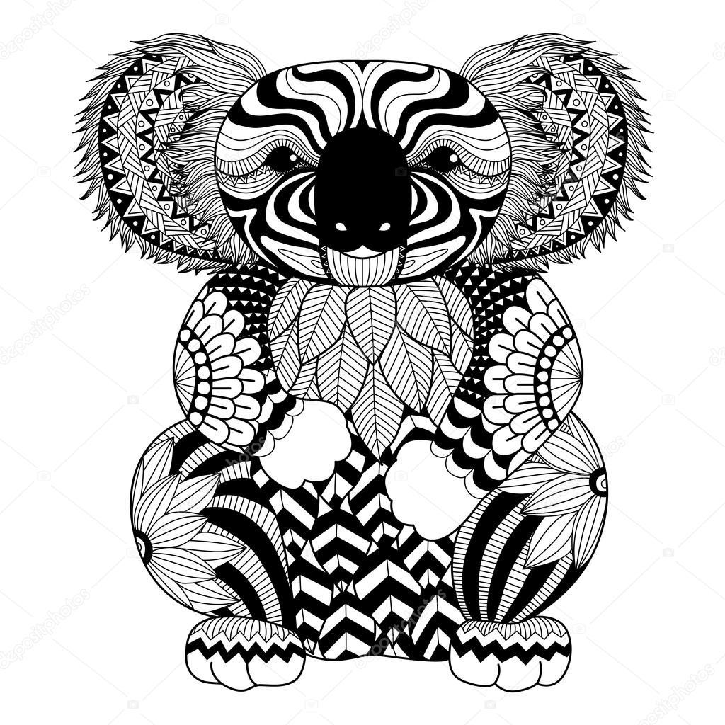 Dibujar Zentangle Koala Archivo Imagenes Vectoriales C Somjaicindy