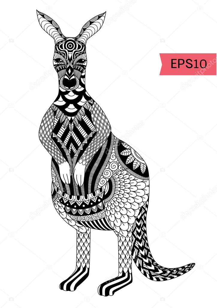 Decoracion canguros | Dibujar zentangle canguro — Vector de stock ...