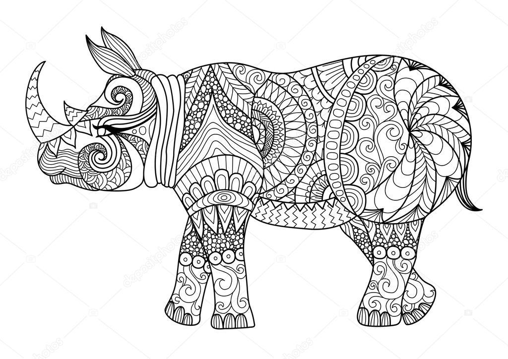 Drawing zentangle  rhino