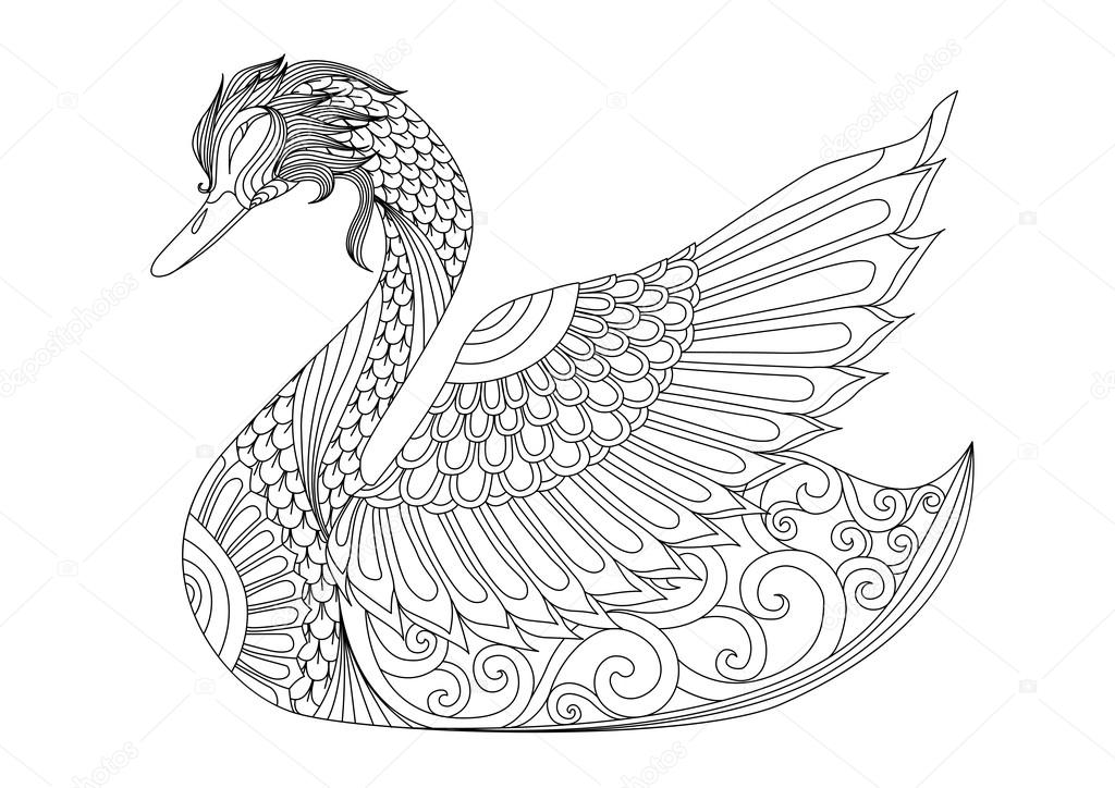 Swan Zentangle Coloring Pages