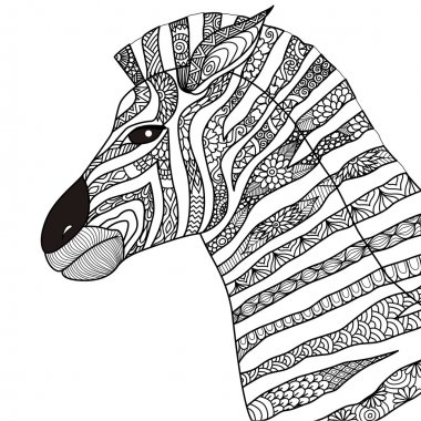 Hand drawn zebra zentangle style