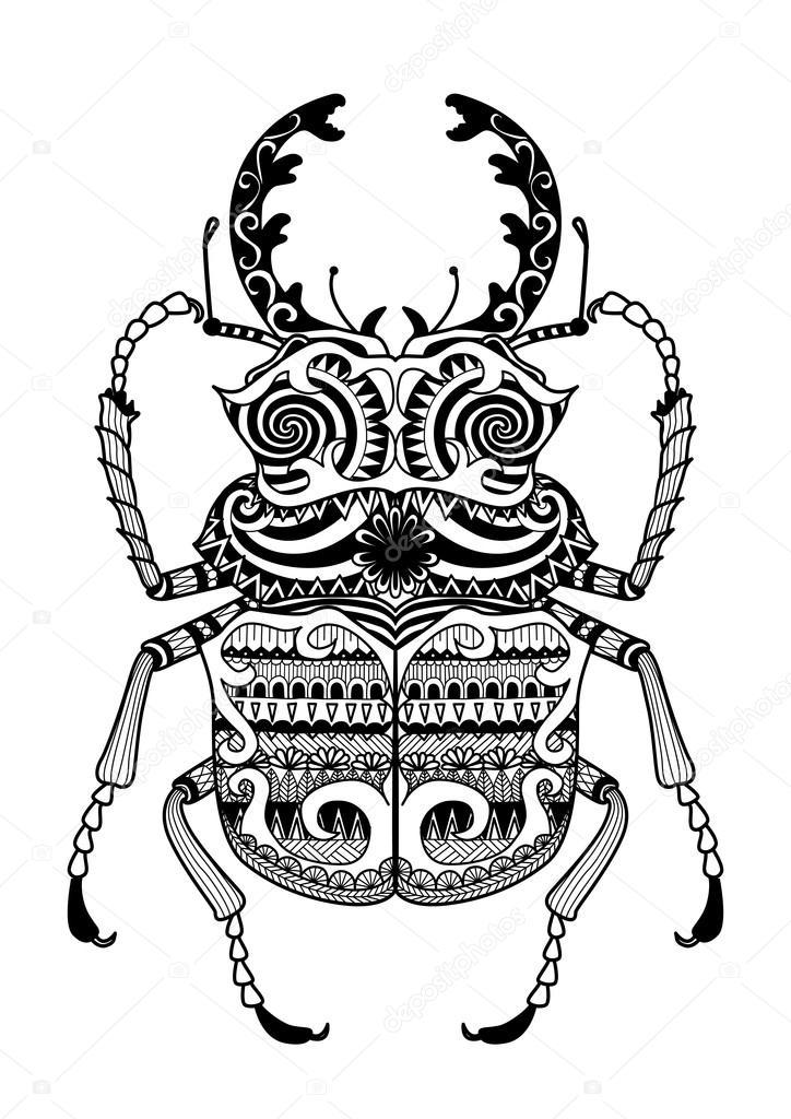 Mano dibujada zentangle odontolabis cuvera — Archivo Imágenes ...