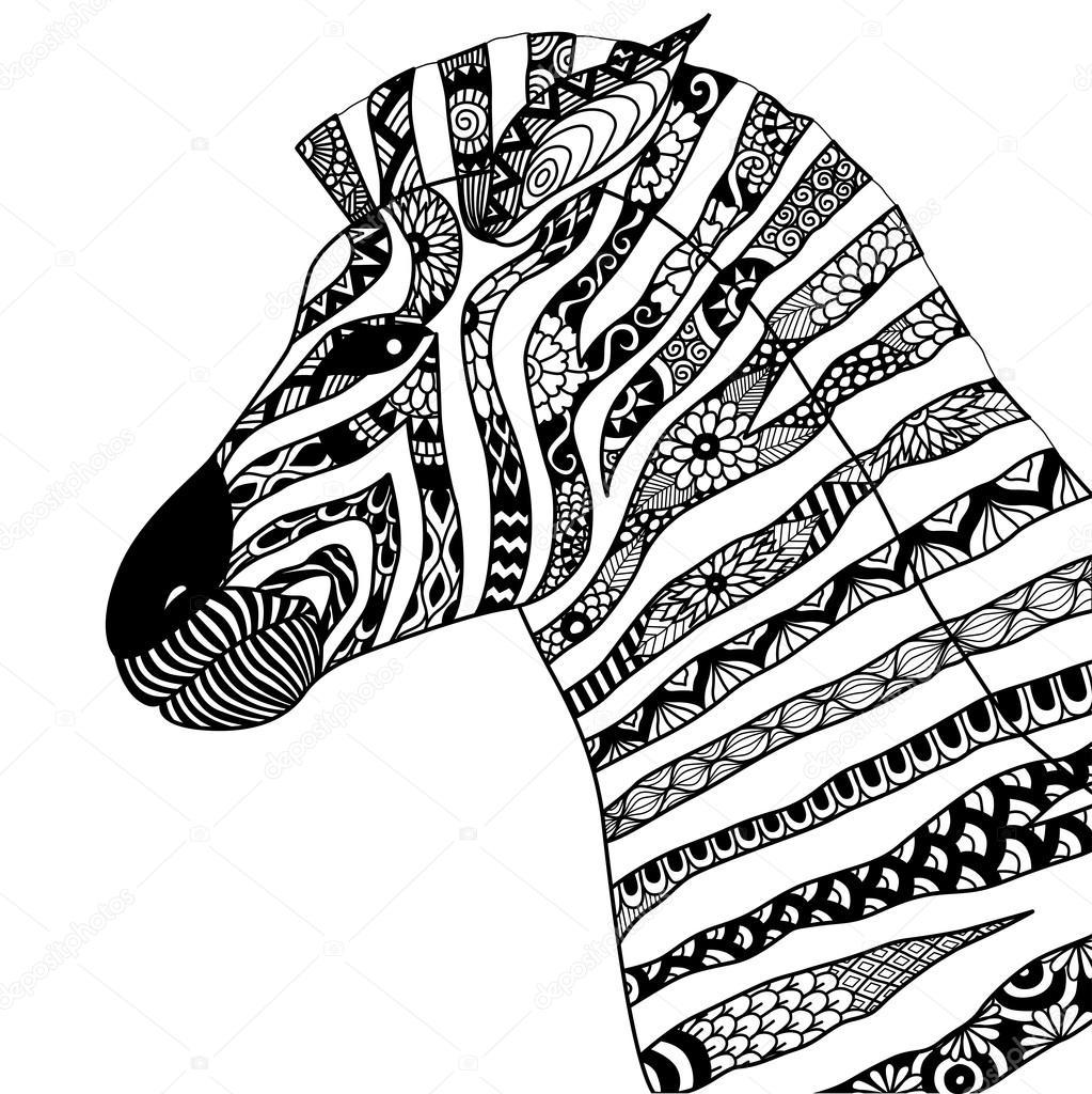 hand drawn zebra zentangle style — stock vector