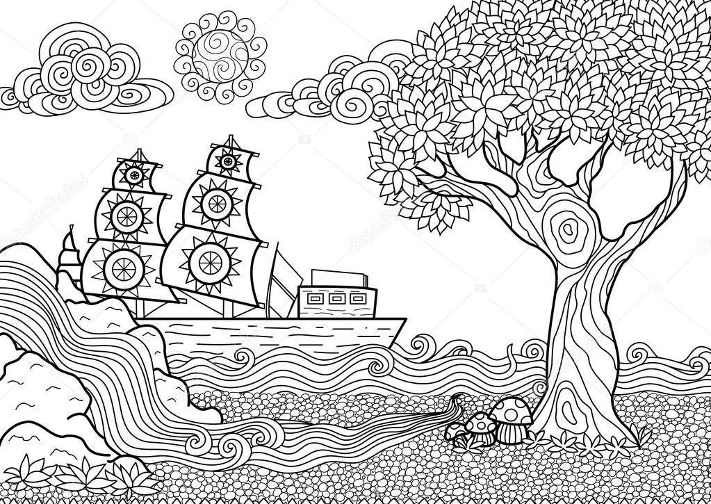 livro de colorir paisagem vetor de stock somjaicindy gmail com