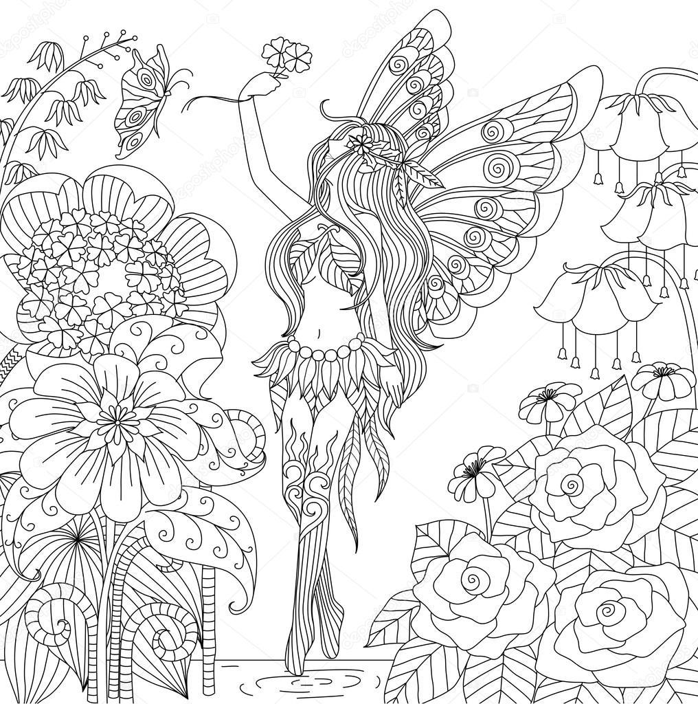 Hadas dibujado mano del vuelo en tierra de flores — Archivo Imágenes ...