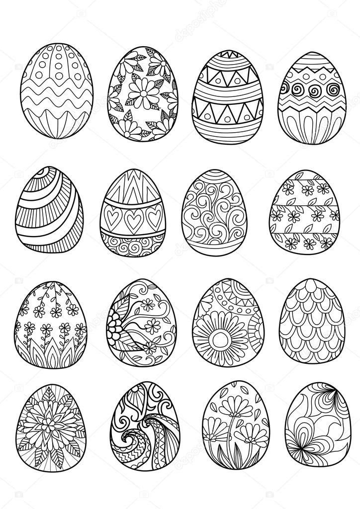 Hand Drawn Easter Eggs For Coloring Book For Adult And Design Elements ⬇  Vector Image By © Somjaicindy@gmail.com Vector Stock 91299514