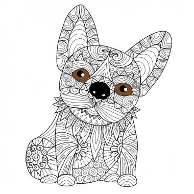 Hand drawn bulldog puppy zentangle style for coloring book for adult