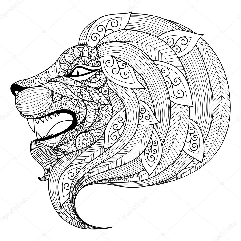 Hand Drawn Zentangle Angry Lion For Coloring Page Stock Vector