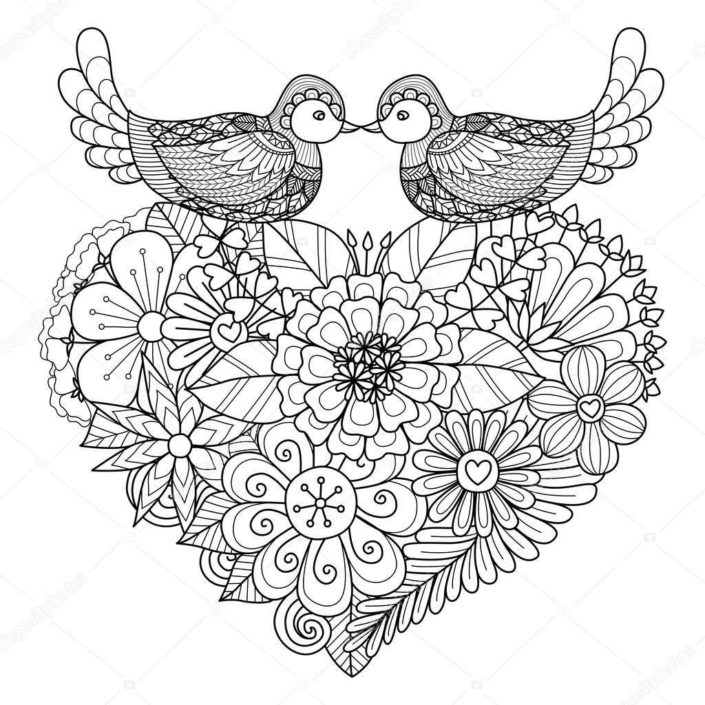Dos pájaros besos arriba en forma de corazón floral nidifican para ...