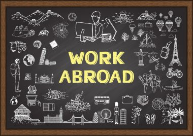 Hand drawn about work abroad on chalkboard