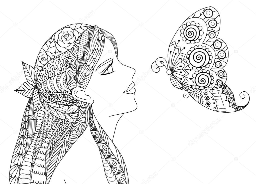 Zentangle Pretty Girl Looking At Flying Butterfly Design For