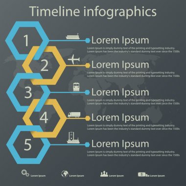 Time line infographics vector template with steel blue and gold colors paper effect showing a range of five options in text boxes. Icons for shipping business.