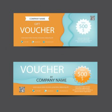 Bright lively orange and blue  voucher template.