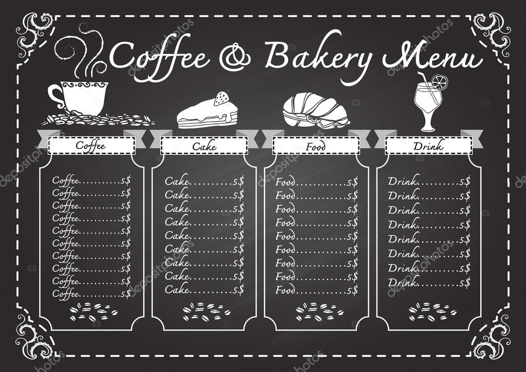 Coffee And Bakery Menu On Chalkboard Design Template Stock Vector