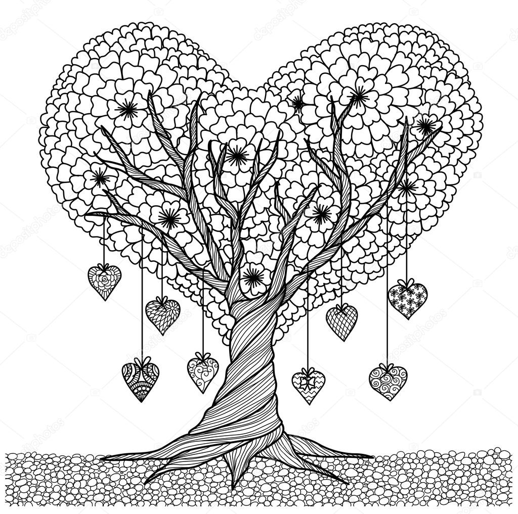 Hand drawn heart shape tree for coloring book for adult  or decorations for valentine's day