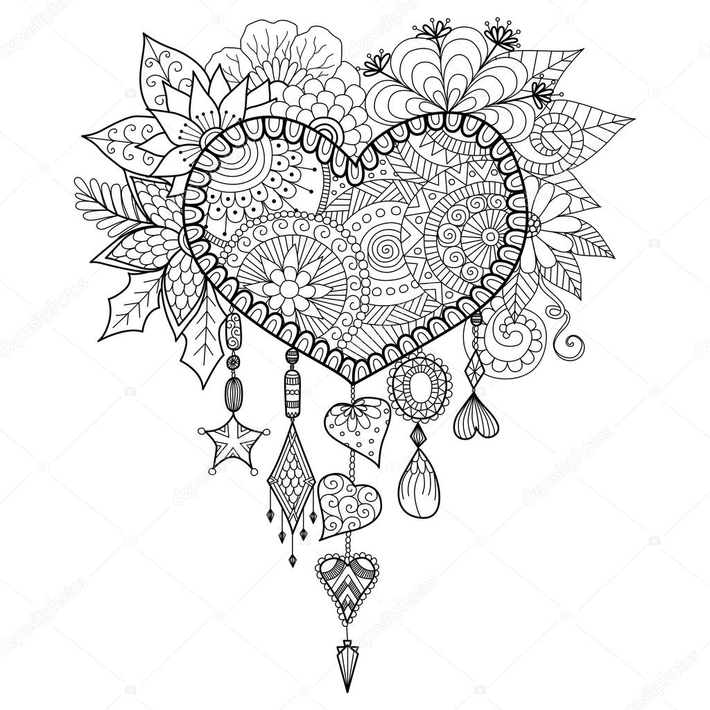 heart shape floral dream catcher for coloring book for adult stock vector 94517860