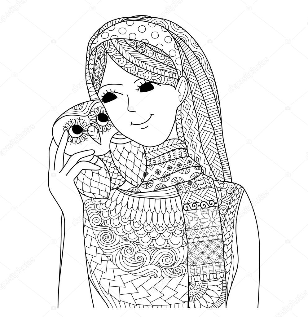 Pretty Girl Holding An Owl Zentangle Design For Coloring Book For
