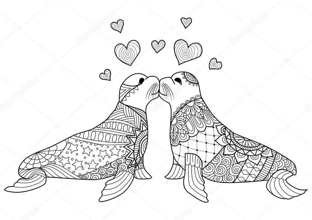 Sellos de zentangle besándose para colorear libro para adultos y día ...