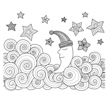 Moon sleeping among stars zentangle design for coloring book for adult