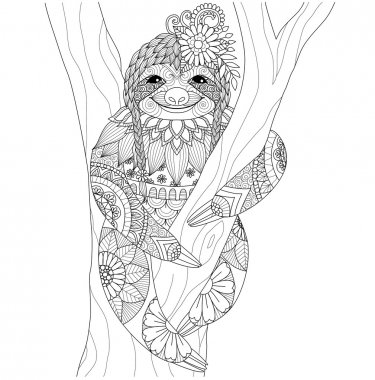Sloth zentangle design for coloring book  for adult and other decorations