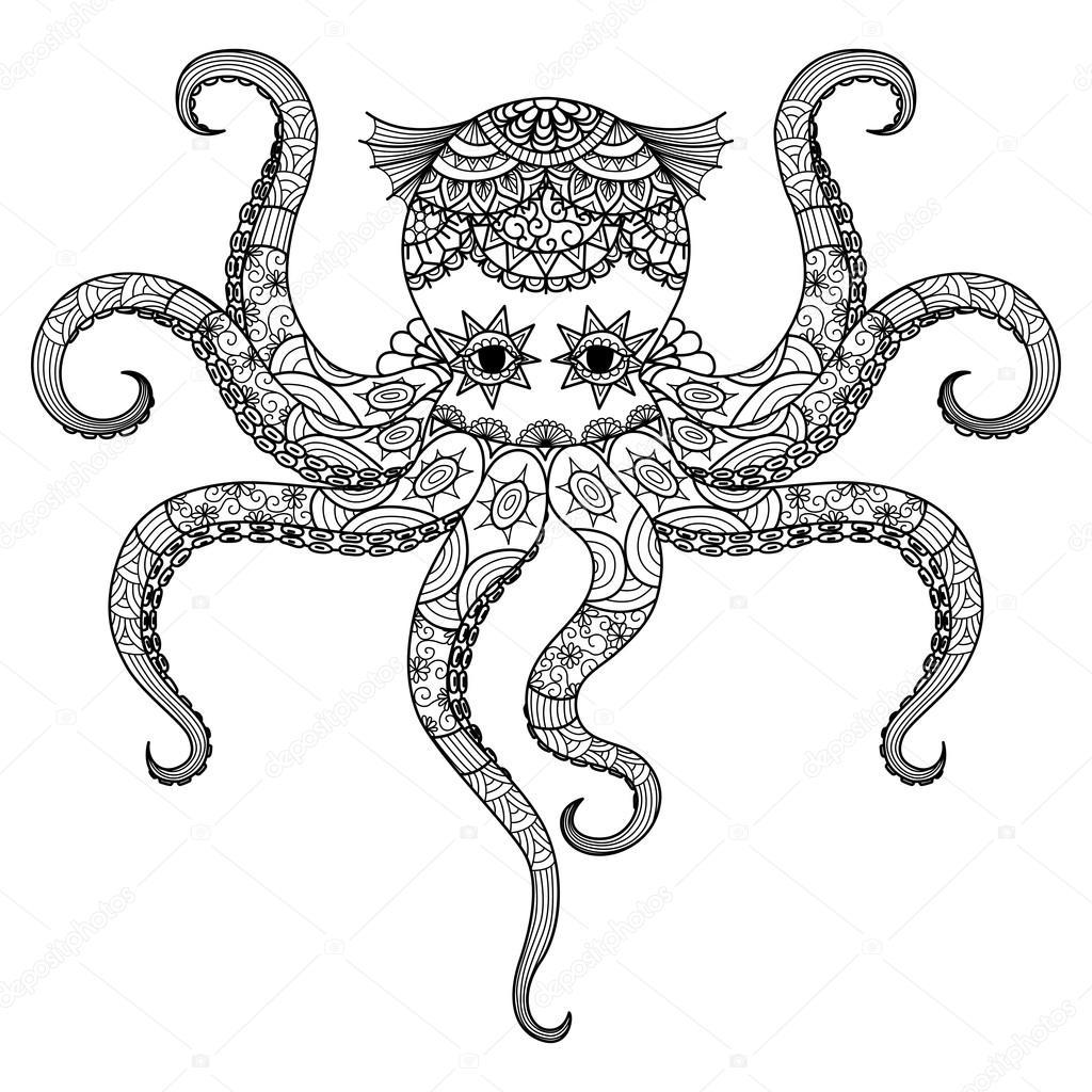 Tekening Octopus Zentangle Ontwerp Voor De Kleurplaat Boek Voor