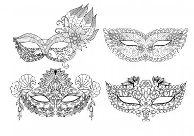 Carnival mask designs for coloring book for adult
