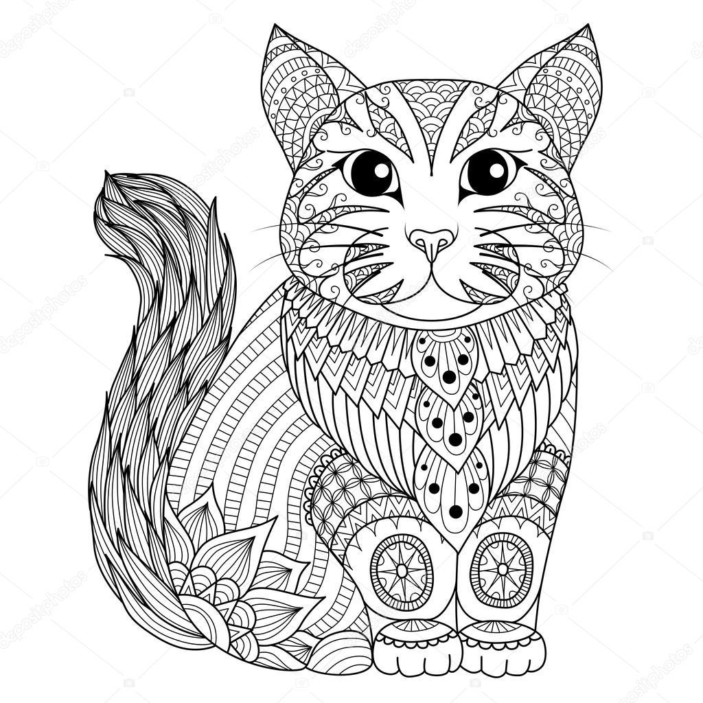 gato de zentangle desenho para colorir página efeito de desenho de