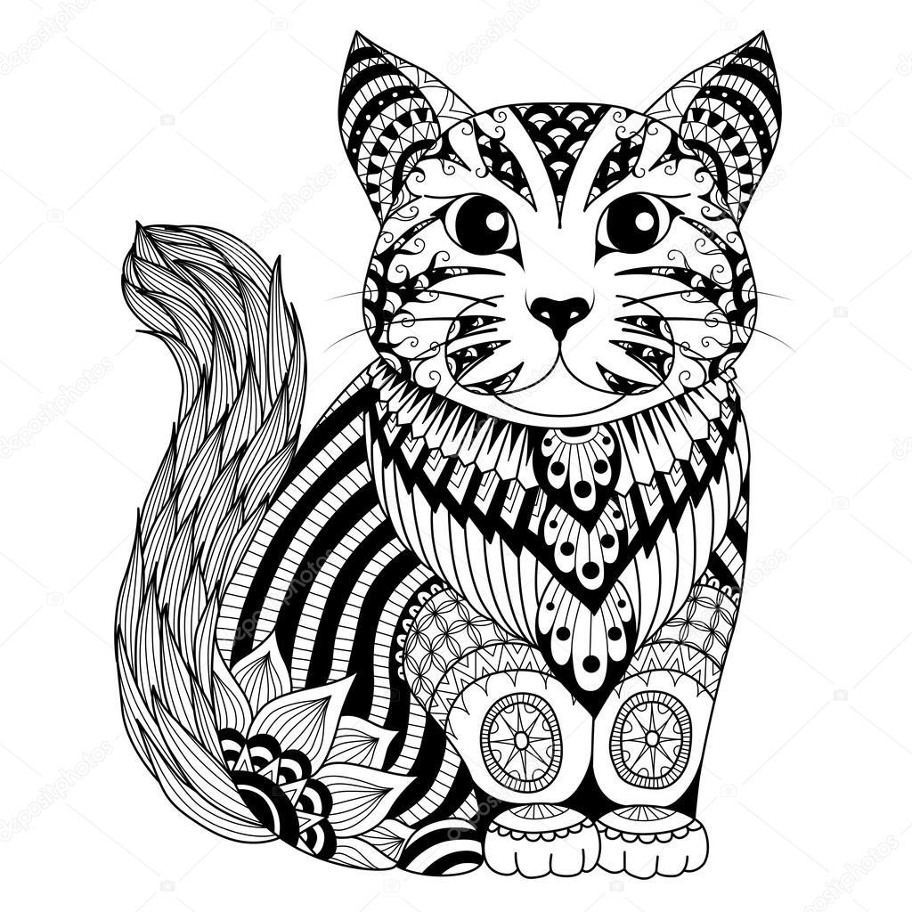 Gato de zentangle desenho para colorir p gina efeito de