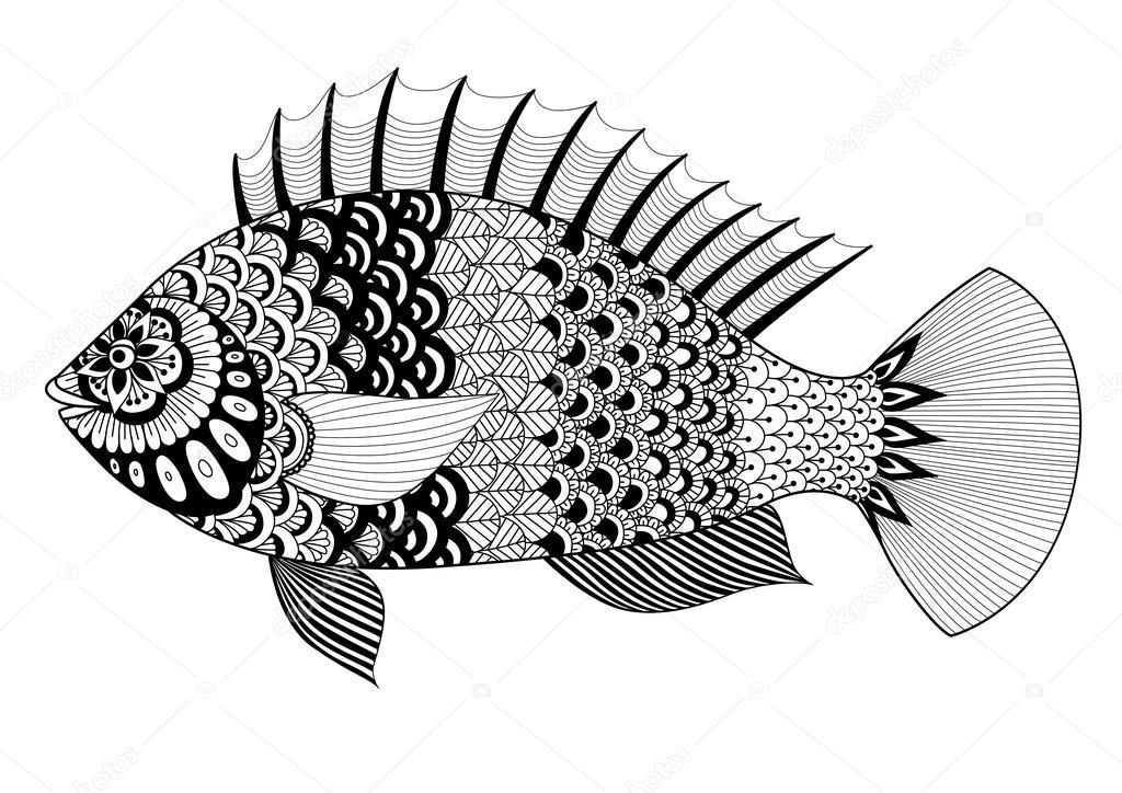 Pescado de línea diseño de arte para colorear libro para adultos ...