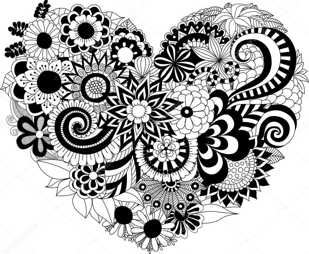 çiçek Boyama Kitabı Için Kalp şekli Desen Stok Vektör