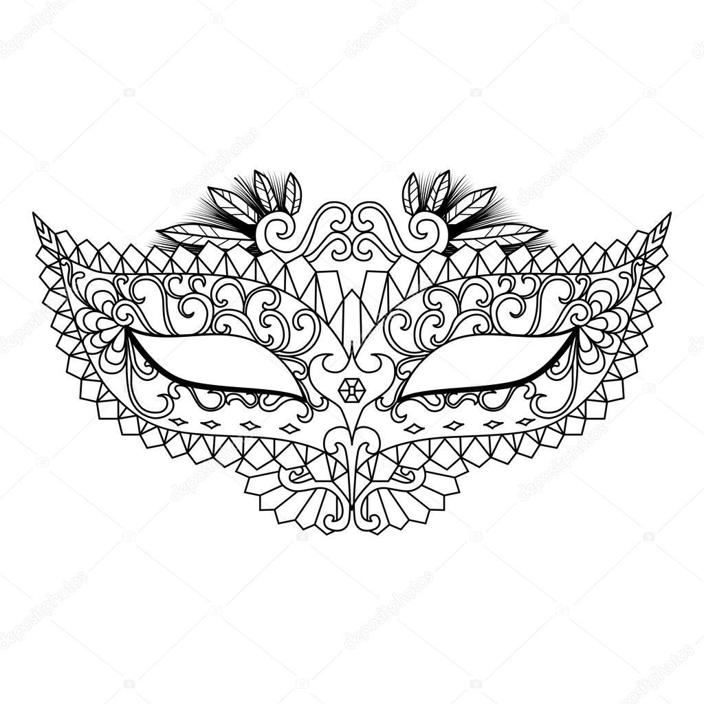 Máscara de carnaval de Mardi Gras para colorear libro y otras ...