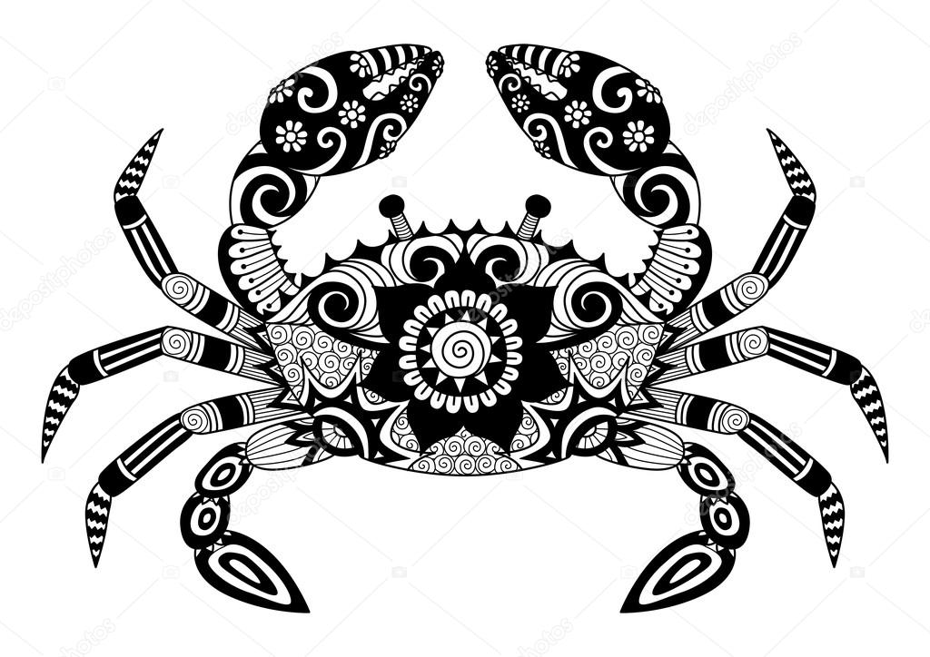Imágenes: cangrejo tribal | Cangrejo de zentangle dibujado a mano ...