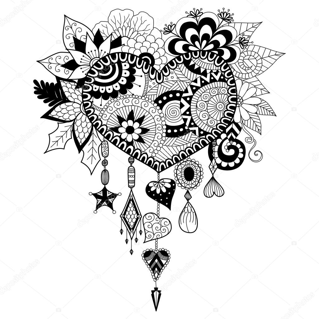 Heart Shape Floral Dream Catcher For Coloring Book Adult Stock Vector 99628682