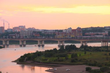 The bridge across the Angara River at sunset in Irkutsk