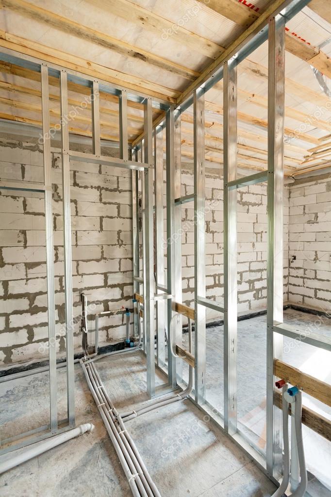Marco de Perfil de metal para paredes de cartón yeso y tubos con las ...