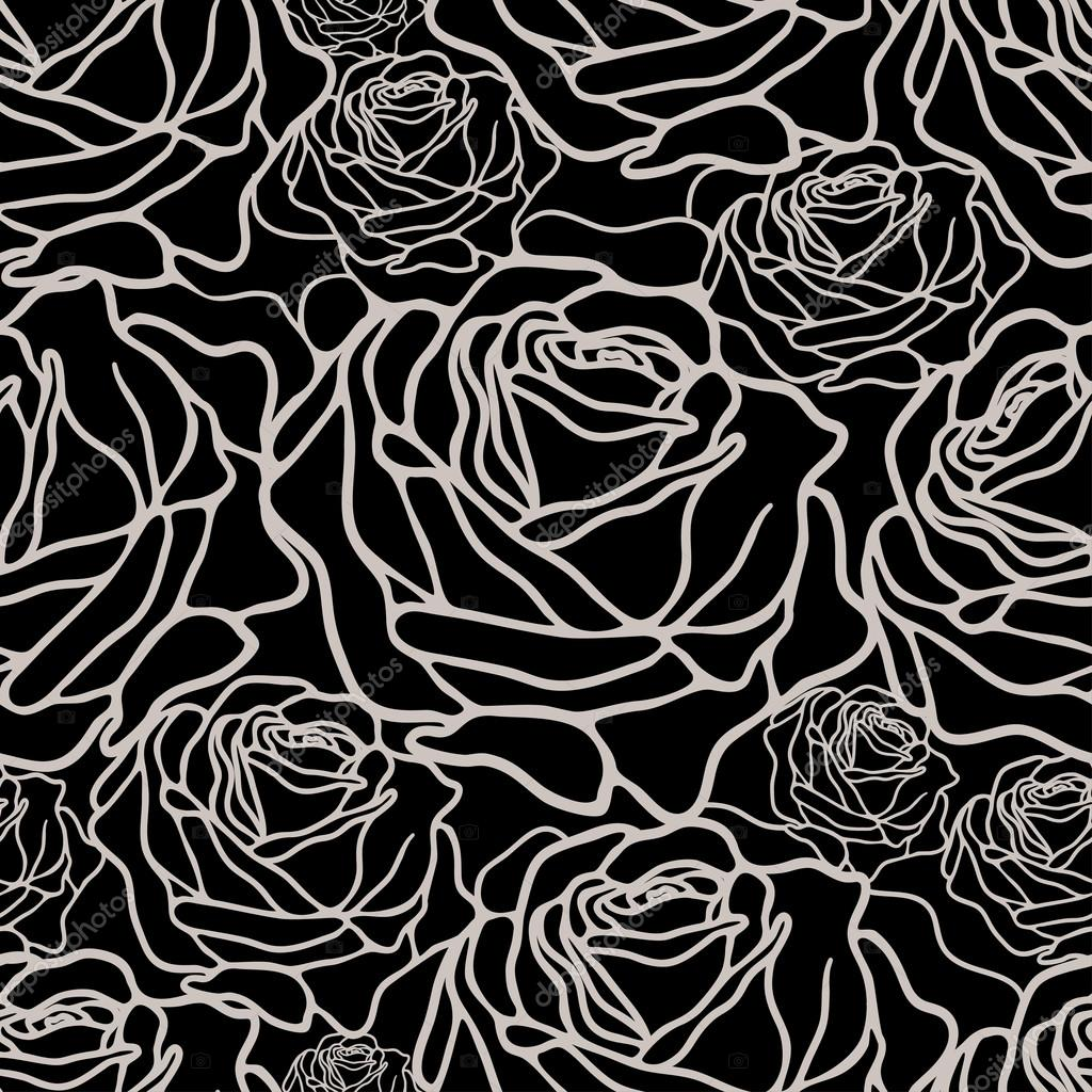 black and white pattern with roses