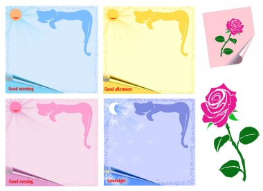 colored sheets of paper and a rose  Isolated